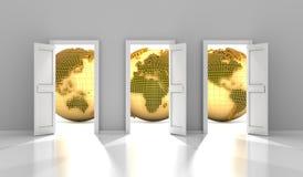 Las puertas al mercado financiero global, 3d rinden ilustración del vector