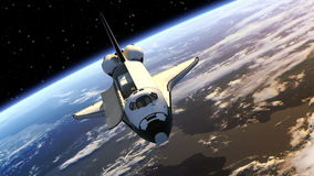 Las puertas de la bahía de la carga útil del transbordador espacial se abren ilustración del vector