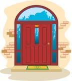 Las puertas de madera rojas entran Imagen de archivo libre de regalías