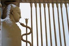 Las puertas del egipcio bajo nieve Imagen de archivo