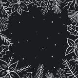 Las ramas de las ramitas del follaje de la Feliz Navidad del invierno florecen el marco cuadrado blanco y negro ilustración del vector