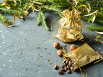 Las ramas del abeto en el fondo concreto gris con oro protagonizan La Navidad del Año Nuevo Bolso del oro de nueces Fotografía de archivo libre de regalías