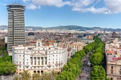 Las Ramblas a Barcellona Fotografia Stock Libera da Diritti