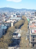 Las ramblas in Barcelona. Aerial view of Las Ramblas in Barcelona Stock Photo