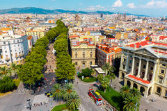 La Rambla in Barcelona, Catalonia, Spain. Aerial view over La Rambla from Christopher Columbus monument, with quarters of El Raval to the left and Barri Gotic to Royalty Free Stock Photography