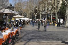 Las Ramblas. Barcelona. Spain Royalty Free Stock Images