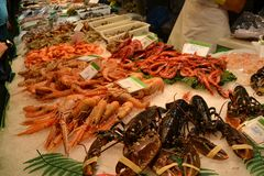 Las Ramblas Fish Market Fresh Seafood in Old Town Barcelona Spain stock images
