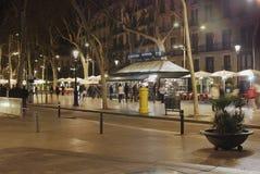 Las Ramblas at night. Barcelona. Spain Stock Photography