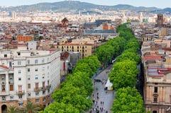 Las Ramblas van Barcelona Stock Foto's