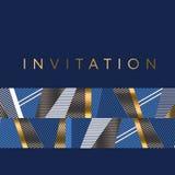 Las rayas azules del oro y del mar diseñan el elemento para favorable festivo elegante stock de ilustración