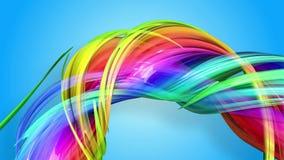 Las rayas del arco iris se están moviendo en un círculo y están torciendo como fondo abstracto 14 ilustración del vector