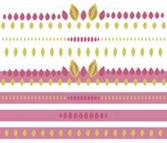 Las rayas rosadas modelan los objetos amarillos lindos del vector de la planta de las semillas de las muchachas hermosas brillant ilustración del vector