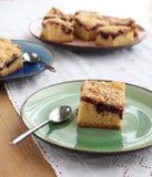 Las rebanadas de torta con el atasco arreglaron en una placa Imagen de archivo libre de regalías