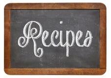 Las recetas redactan en la pizarra Imagen de archivo libre de regalías