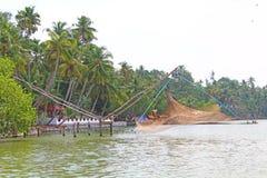 Las redes de pesca chinas Remansos de Kerala Imagen de archivo libre de regalías