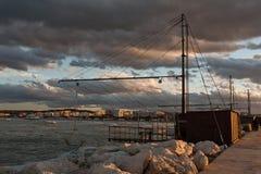 Las redes en el puerto Foto de archivo