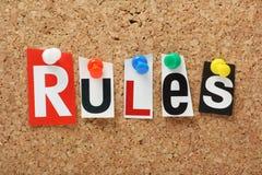 Las reglas de la palabra Imagen de archivo