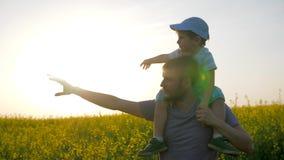 Las relaciones del niño con el papá, papá con el niño pequeño entran por el campo y la mano del punto la distancia, paseo del cam almacen de video