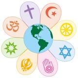 Las religiones del mundo unieron símbolo de la flor de la paz Imagenes de archivo