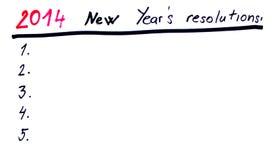 Las 2014 resoluciones del Año Nuevo Fotos de archivo libres de regalías
