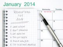 Las resoluciones del Año Nuevo Fotografía de archivo