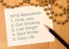 Las 2016 resoluciones del Año Nuevo Foto de archivo libre de regalías
