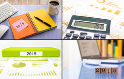 Las resoluciones 2015 del año trabajan el planeamiento, sistema del collage, colle del negocio Foto de archivo libre de regalías