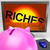 Las riquezas que se hunden en monitor muestran quiebra Imagenes de archivo