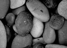 Las rocas de la playa se cierran para arriba en blanco y negro Fotos de archivo