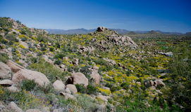 Las rocas del granito en pico del pináculo se arrastran sobre el valle feliz Fotos de archivo