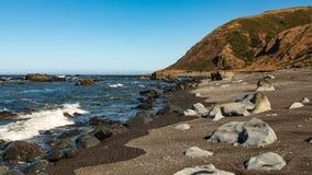 Las rocas grandes en California septentrional varan con el lado del agua y de la colina imagen de archivo libre de regalías