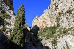 Las rocas Moustiers Sainte-Marie Foto de archivo libre de regalías