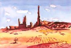 Las rocas rojas en el desierto echaron sombras largas en la arena amarilla libre illustration