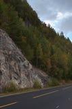 Las rocas y el bosque acercan al camino. Fotos de archivo libres de regalías