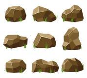 Las rocas y las piedras fijaron con la hierba en el fondo blanco Piedras y rocas en el estilo plano isométrico 3d Diversas formas Imagen de archivo