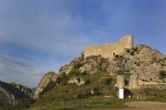 Las Rojas slott, La Bureba, Burgos Arkivfoton