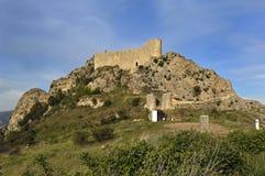 Las Rojas slott, La Bureba, Burgos landskap, Castilla-Leon, Spai Royaltyfri Fotografi