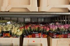 Las rosas alistan para ser vendidas para día de San Valentín foto de archivo libre de regalías