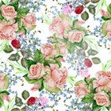 Las rosas del ramo, fondo, acuarela, modelan inconsútil stock de ilustración