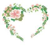 Las rosas del vintage dejan los arándanos en forma de un corazón stock de ilustración