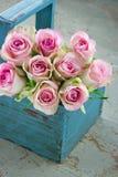 Rosas en una cesta que cultiva un huerto de madera azul vieja Fotografía de archivo libre de regalías