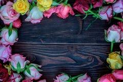 Las rosas enmarcan en fondo de madera Flores en la madera Imágenes de archivo libres de regalías
