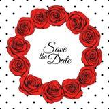 Las rosas rojas enrruellan y el modelo punteado de la elegancia alrededor de él stock de ilustración