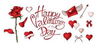 Las rosas rojas, los corazones y otros elementos dan el sistema coloreado exhausto stock de ilustración