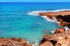 Las Rotas blue mediterranean sea shore Denia Royalty Free Stock Images