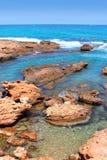 Las Rotas blue mediterranean sea shore Denia Stock Photography