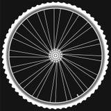 Las ruedas blancas de la bici aislaron vector negro del fondo Foto de archivo libre de regalías