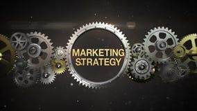 Las ruedas de engranaje de conexión y hacen palabra clave, 'ESTRATEGIA DE MARKETING' stock de ilustración