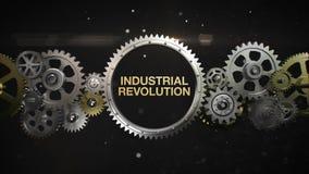 Las ruedas de engranaje de conexión y hacen palabra clave, 'Revolución industrial' (la alfa incluida) libre illustration