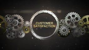 Las ruedas de engranaje de conexión y hacen palabra clave, 'SATISFACCIÓN DEL CLIENTE' stock de ilustración